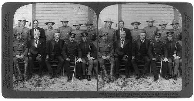 """President Roosevelt with officers of the army and """"Rough Riders"""" - reunion at San Antonio, Texas"""