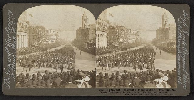 President Roosevelt's inauguration The 13th New York Regiment in parade on Pennsylvania Ave.