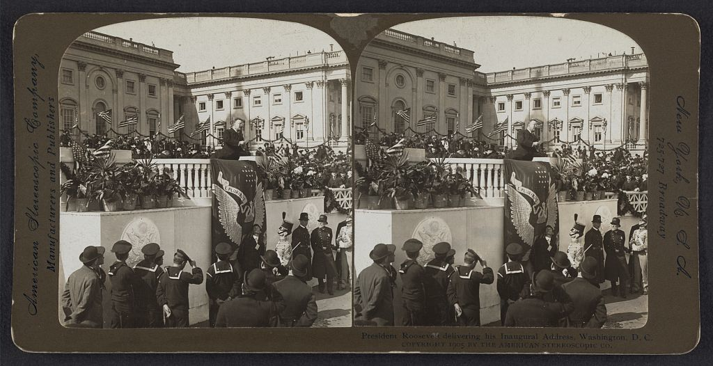 President Theodore Roosevelt delivering his inaugural address, Washington, D.C.