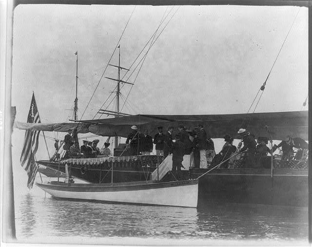 [Presidential yacht at Oyster Bay, L.I., 1905: guests boarding from launch]
