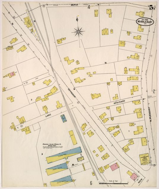 Sanborn Fire Insurance Map from Middlebury, Addison County, Vermont.