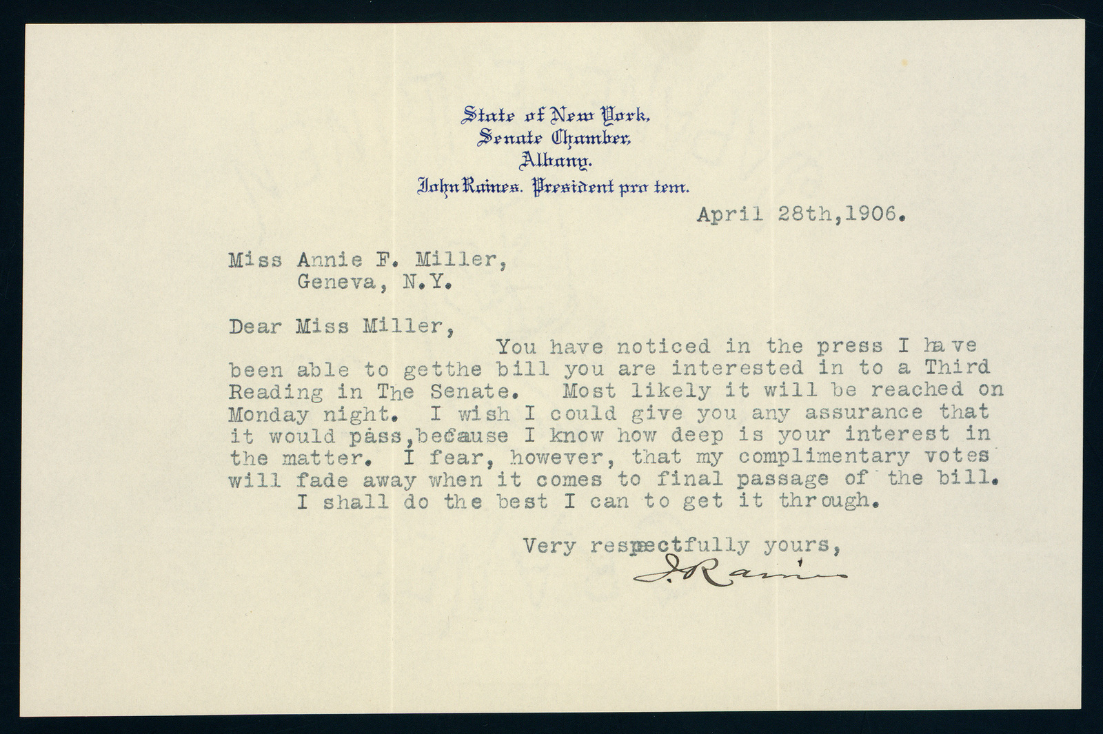 Senator John Raines correspondence with Mary Craigie and Anne Fitzhugh Miller regarding third class cities tax suffrage for women taxpayers