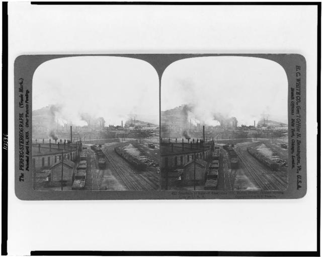 Smelters at base of Anaconda Hill, Butte Mont., richest mining city in the U.S.A.