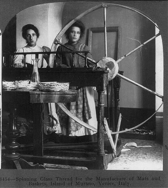 Spinning glass thread for the manufacture of mats and baskets, Island of Murano, Venice, Italy
