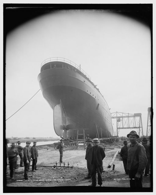 S.S. William G. Mather, stern view before launch