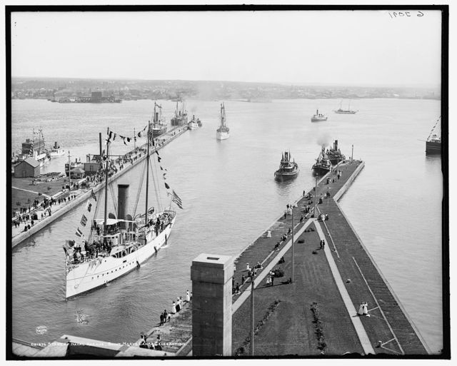 Start of naval parade, Saint Mary's [i.e. Sault Sainte Marie] Canal celebration