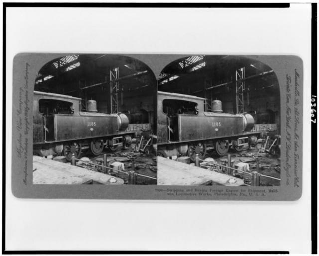 Stripping and boxing foreign engine for shipment, Baldwin Locomotive Works, Philadelphia, Pa., U.S.A.
