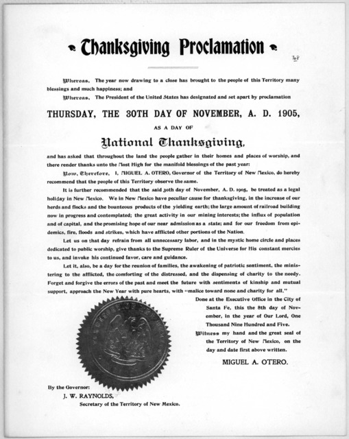 Thanksgiving proclamation. Whereas, the year now drawing to a close has brought to the people of this Territory many blessings and much happiness; and Whereas, the President of the United States has designated and set apart by proclamation Thurs