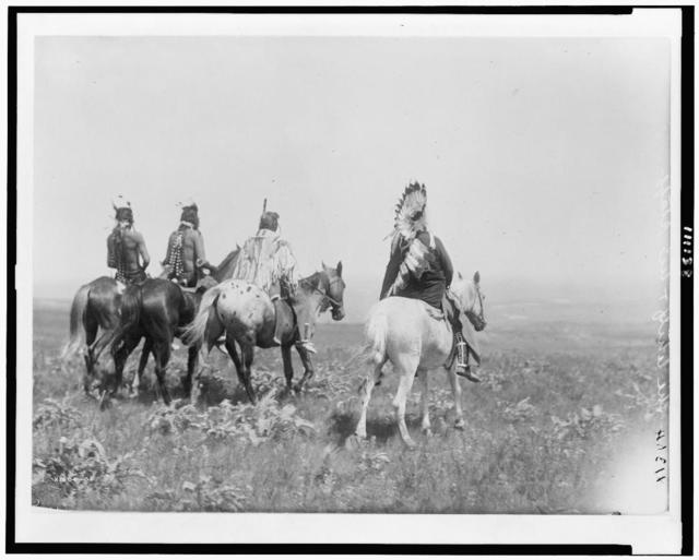 The chief and his staff, Apsaroke Indians