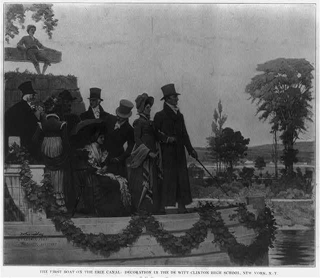 The first boat on the Erie Canal: [Gov. DeWitt Clinton and guests]