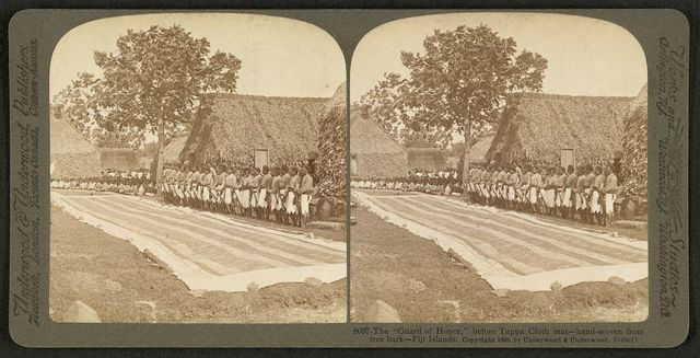 """The """"guard of honor"""" before tappa cloth mat - hand-woven from tree bark, Fiji Islands"""