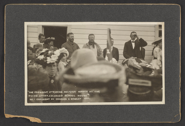 The President attending religous [sic] service at the Divide Creek, Colorado School House