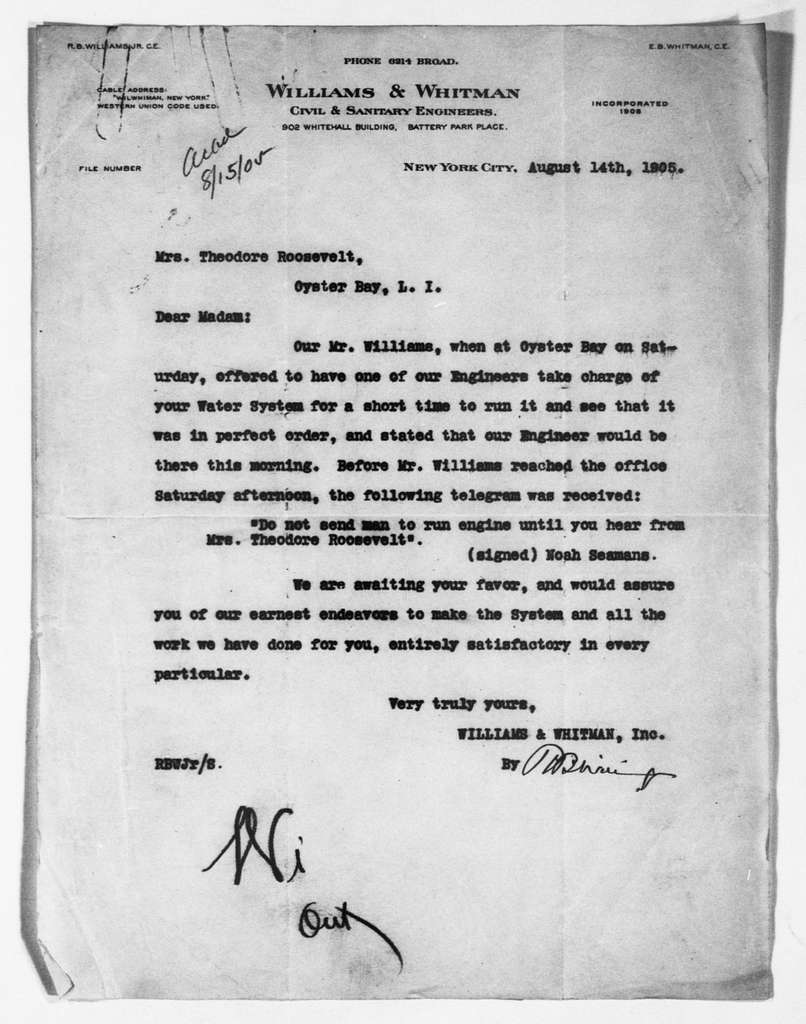 Theodore Roosevelt Papers: Series 1: Letters and Related Material, 1759-1919; 1905, Aug. 9-29