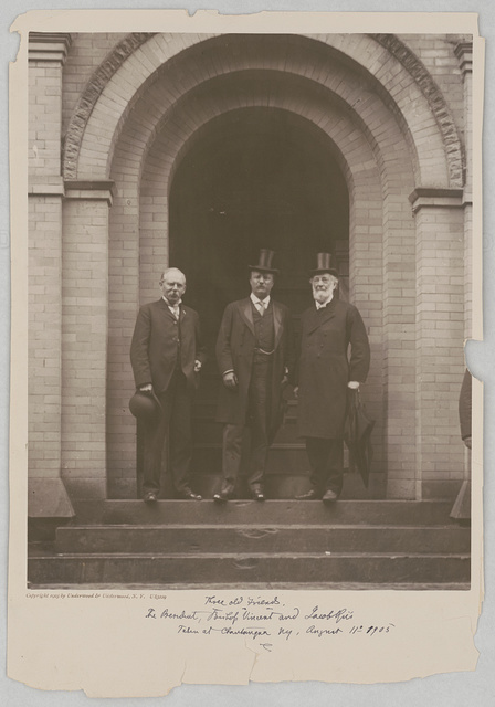 Three old friends. The President, Bishop Vincent and Jacob Riis taken at Chautauqua NY, August 11th 1905