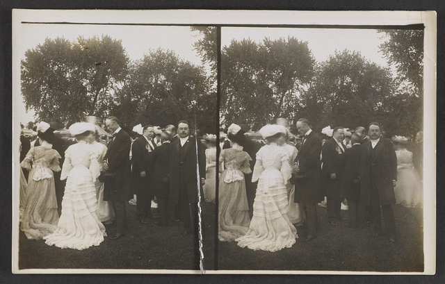 Vice President Fairbanks and Secretary of War Taft, at the President's lawn party - White House