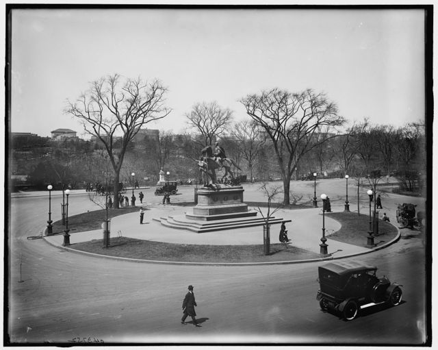 [View of Central Park and Sherman statue from the windows of Hotel Netherland, New York, N.Y.]
