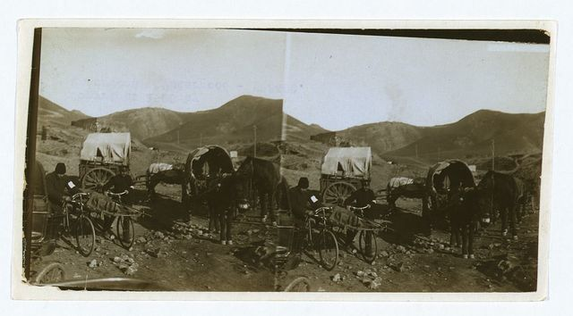[Wagons and bicycle stretchers used to transport injured Russian soldiers]