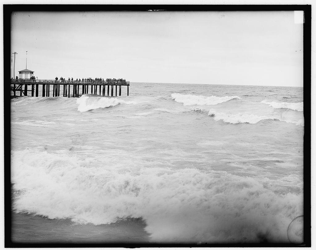 [Watching the surf from ocean pier, Asbury Park, N.J.]