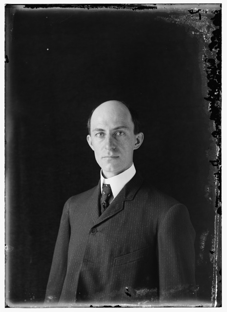 [Wilbur Wright, age 38, head and shoulders, about 1905; one of the earliest published photographs of him]