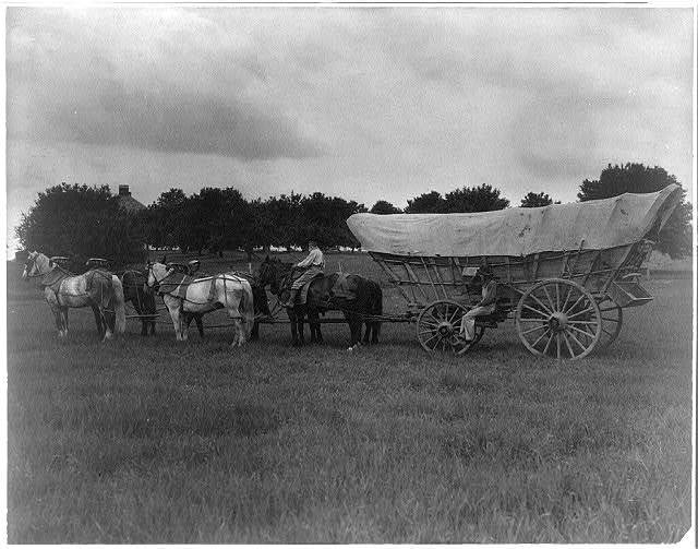 A Turnpike Schooner. This conestoga wagon was used for carrying freight on the National Pike