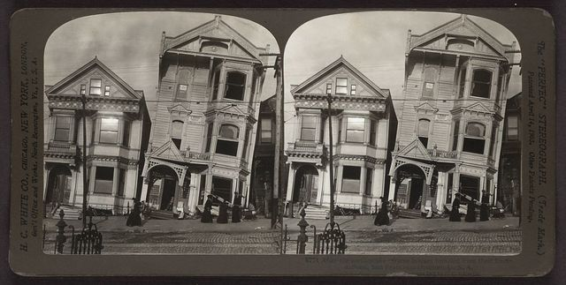 After the earthquake - frame houses tumbled from their foundations, San Francisco Disaster, U.S.A.