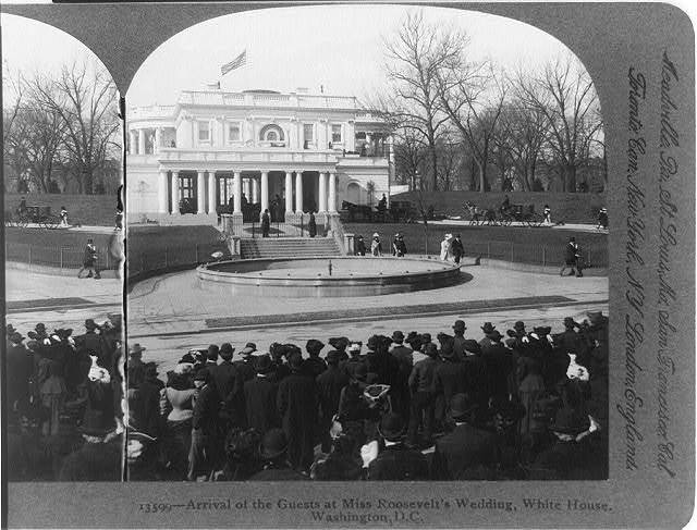 Arrival of the guests at Miss Roosevelt's wedding, White House, Washington, D.C.