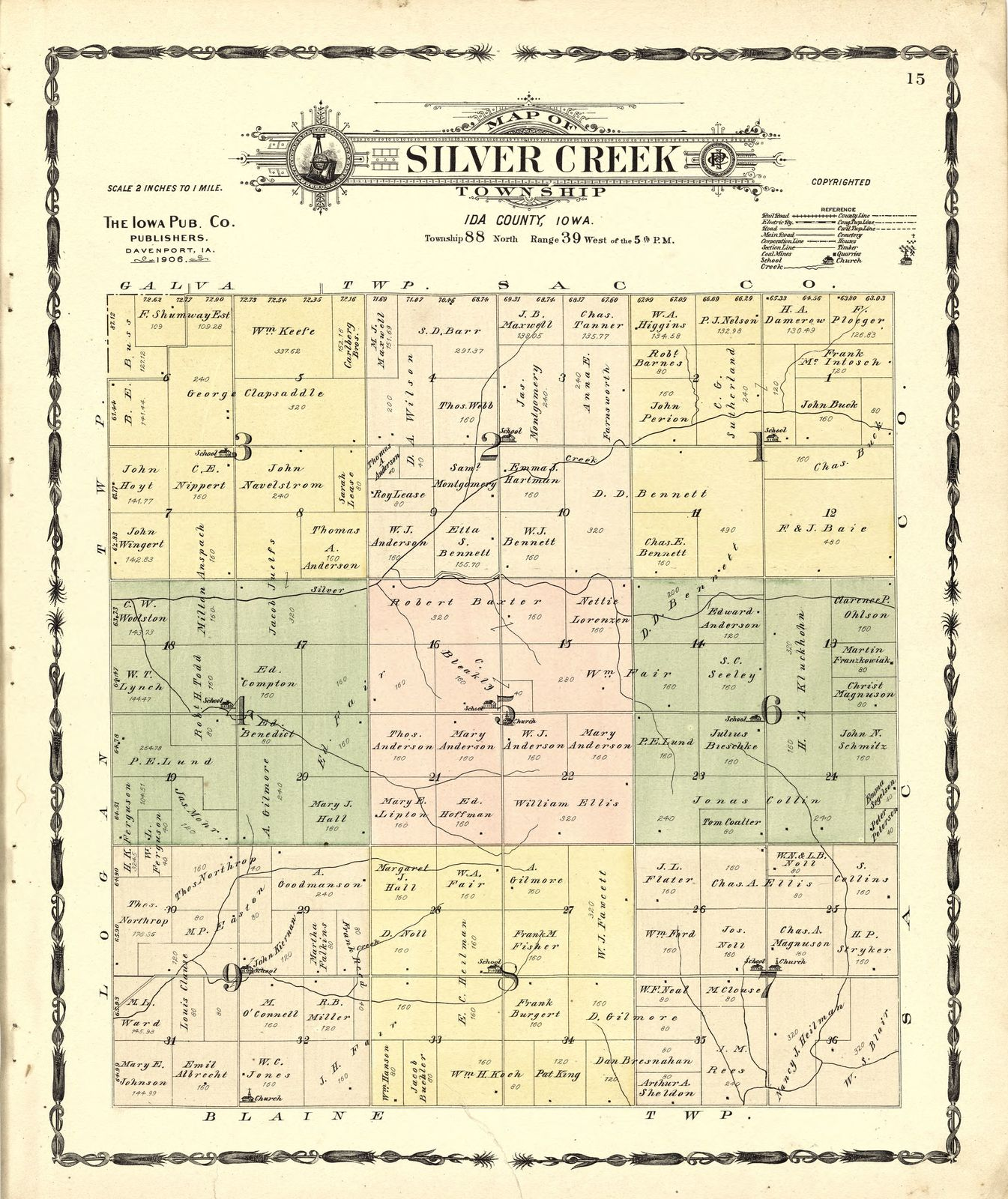 Atlas of Ida County, Iowa : containing maps of villages, cities and townships of the county, maps of state, United States and world, farmers directory, business directory, general information.