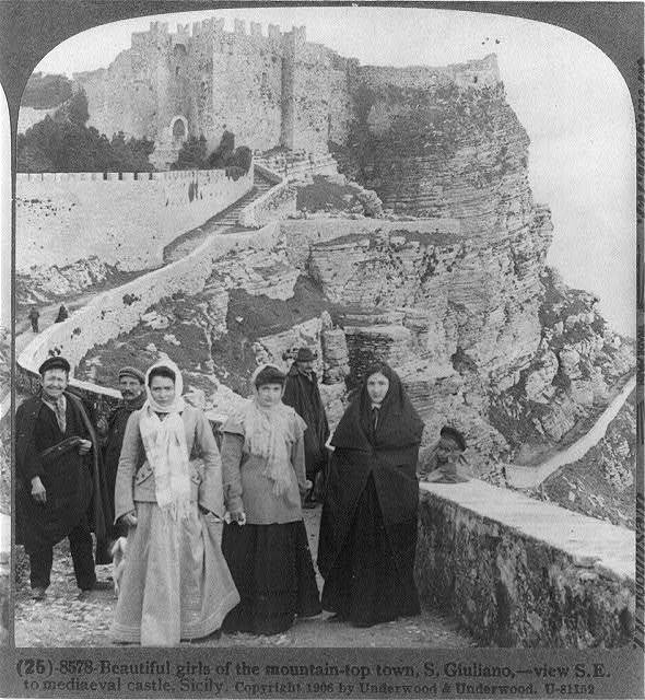 Beautiful girls of the mountain-top town, S. Guiliano - view S.E. to mediaeval castle, Sicily