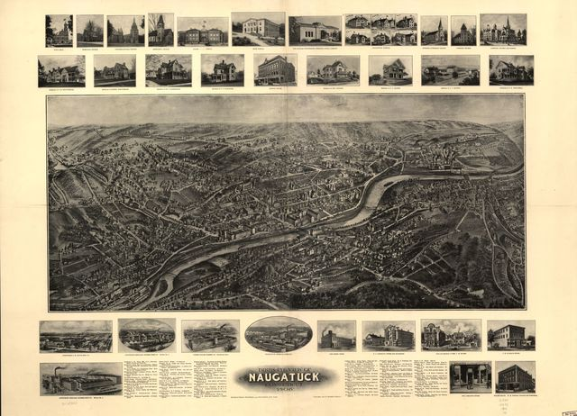 Bird's-eye view of Naugatuck, Connecticut 1906.