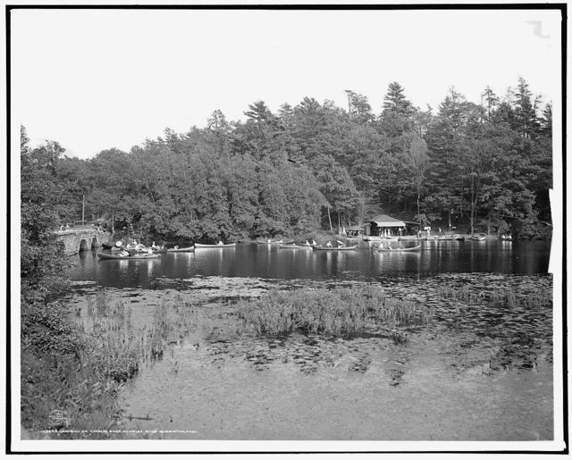 Canoeing on Charles River, Charles River Reservation, Mass.