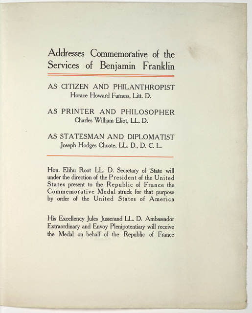 Celebration of the two-hundreth anniversary of the birth of Benjamin Franklin under the auspices of the American Philosophical Society held at Philadelphia for promoting useful knowledge, April 17th to 20th, 1906.