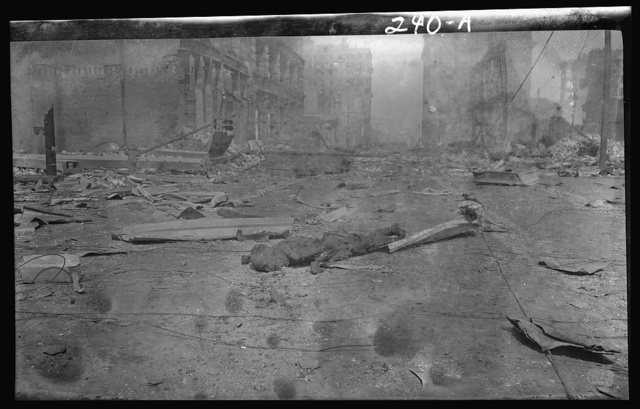 Charred corpse of a victim of the 1906 San Francisco earthquake and fire