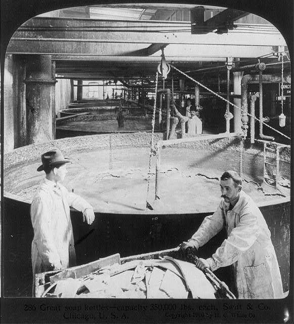 Chicago - Meat Packing Industry - Swift & Co.'s Packing House: great soup kettles - capacity 350,000 lbs. each