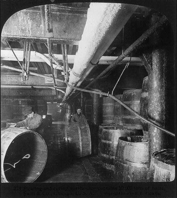 Chicago - Meat Packing Industry - Swift's Packing House: pickling and curing warehouse (contains 10,000 tons of hams)