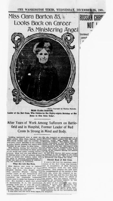 Clara Barton Papers: Miscellany, 1856-1957; Newspaper clippings; 1906-1957, undated