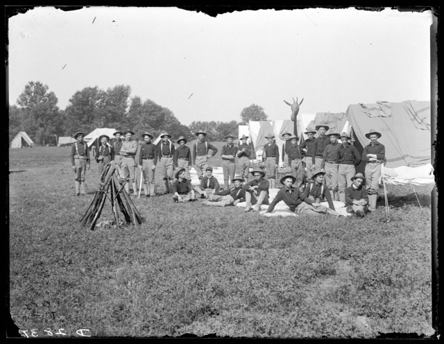Co. I, First Regiment of the Nebraska National Guard outside their tents at Kearney, Nebraska