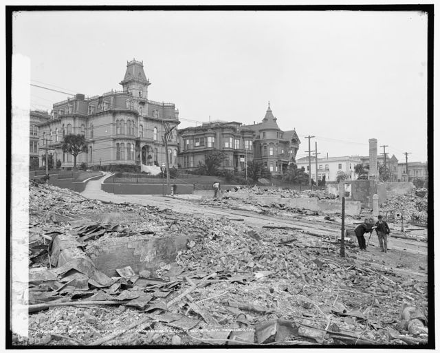 Edge of burned district, corn. of Franklin and Sacremento [i.e. Sacramento] Sts., San Francisco, Cal.