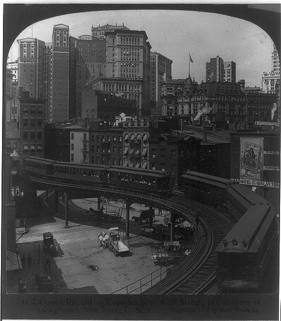 Elevated Ry. curve, Coenties Slip, Wall Street, skyscrapers in background, New York, U.S.A.