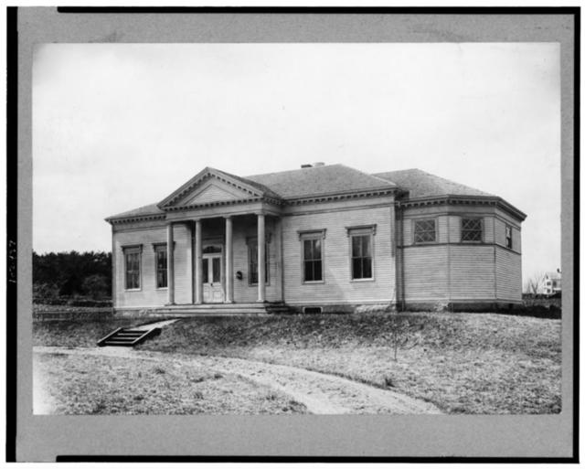 [Exterior of Cliff Rodger's Free Public Library, Marshfield Hills, Massachusetts]