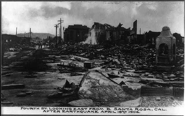 Fourth St. Looking East from B. Santa Rosa, Cal. after earthquake, April 18th 1906
