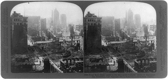 From Kohl Bldg. south to the once great business centre of destroyed San Francisco, Cal.