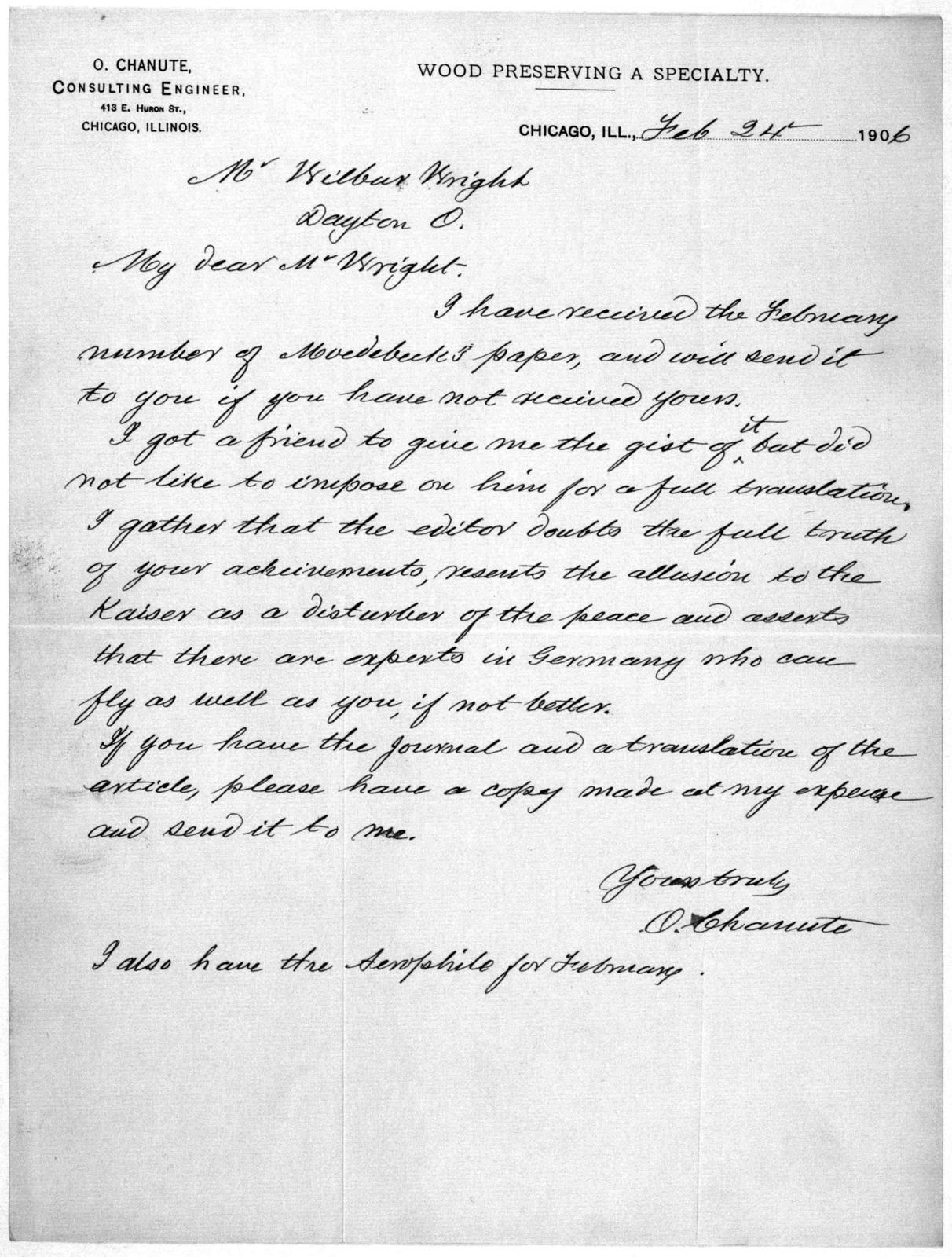 General Correspondence:  Chanute, Octave, 1906