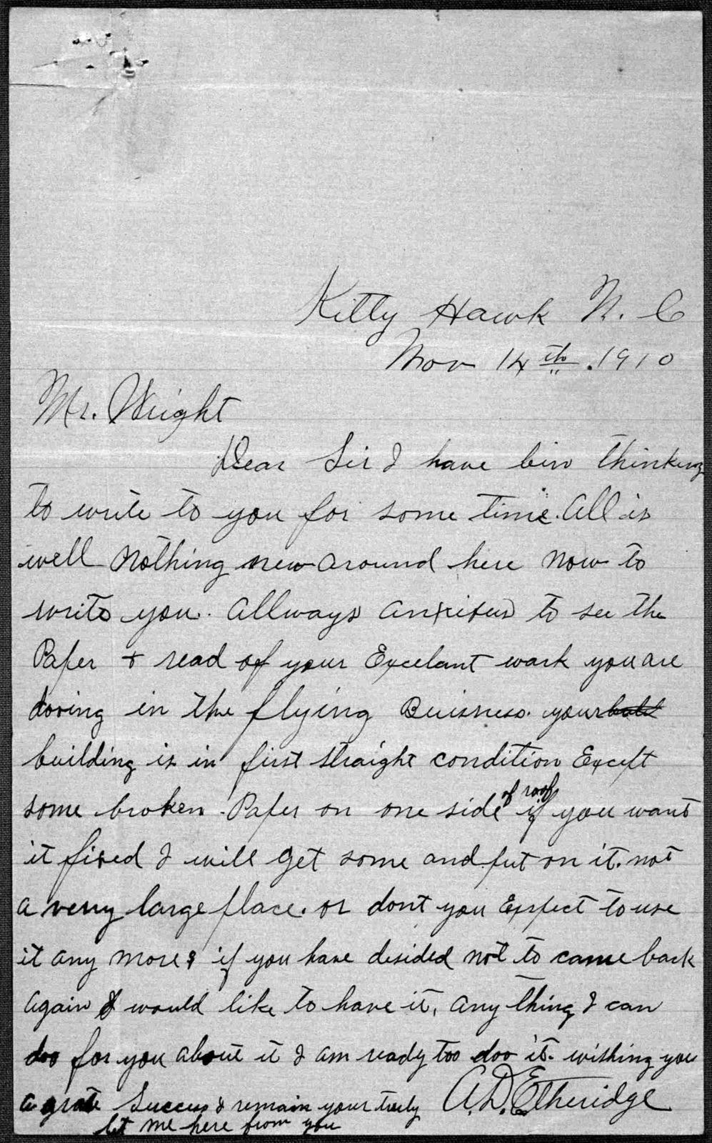 General Correspondence:  Etheridge, Adam D., 1906-1912