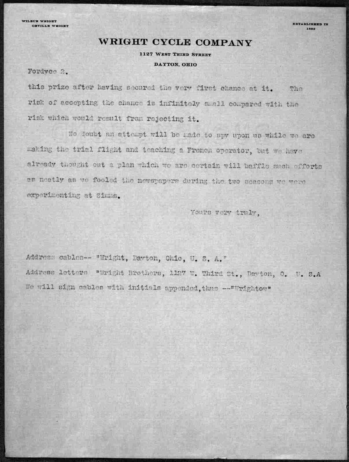 General Correspondence:  Fordyce, Arnold, 1906-1908, undated