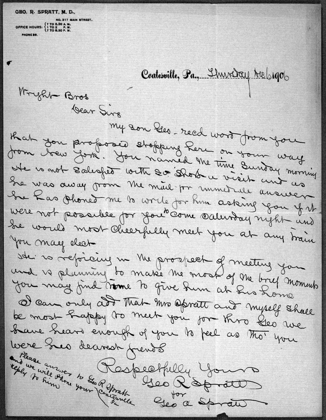 General Correspondence:  Spratt, George A., 1906-1908