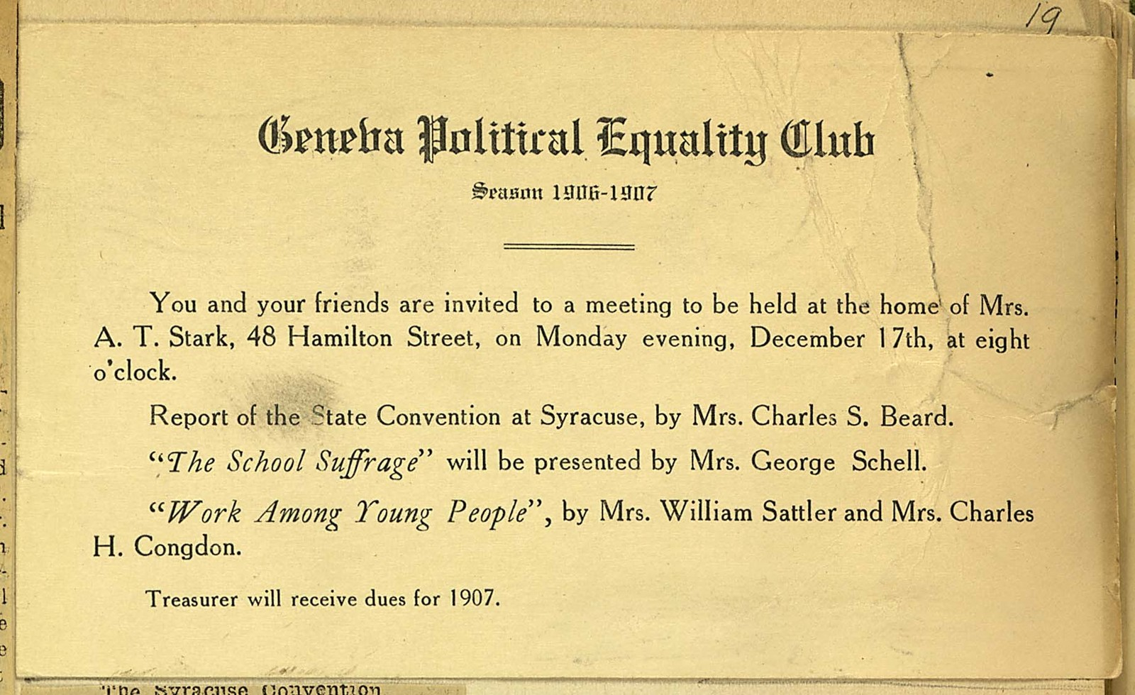Geneva Political Equality Club meeting notice held at home of Mrs. A. T. Stark