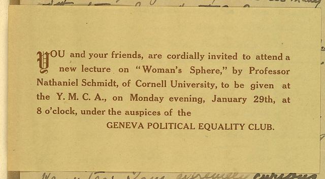 Geneva Political Equality Club meeting notice, YMCA, Nathaniel Schmidt, speaker