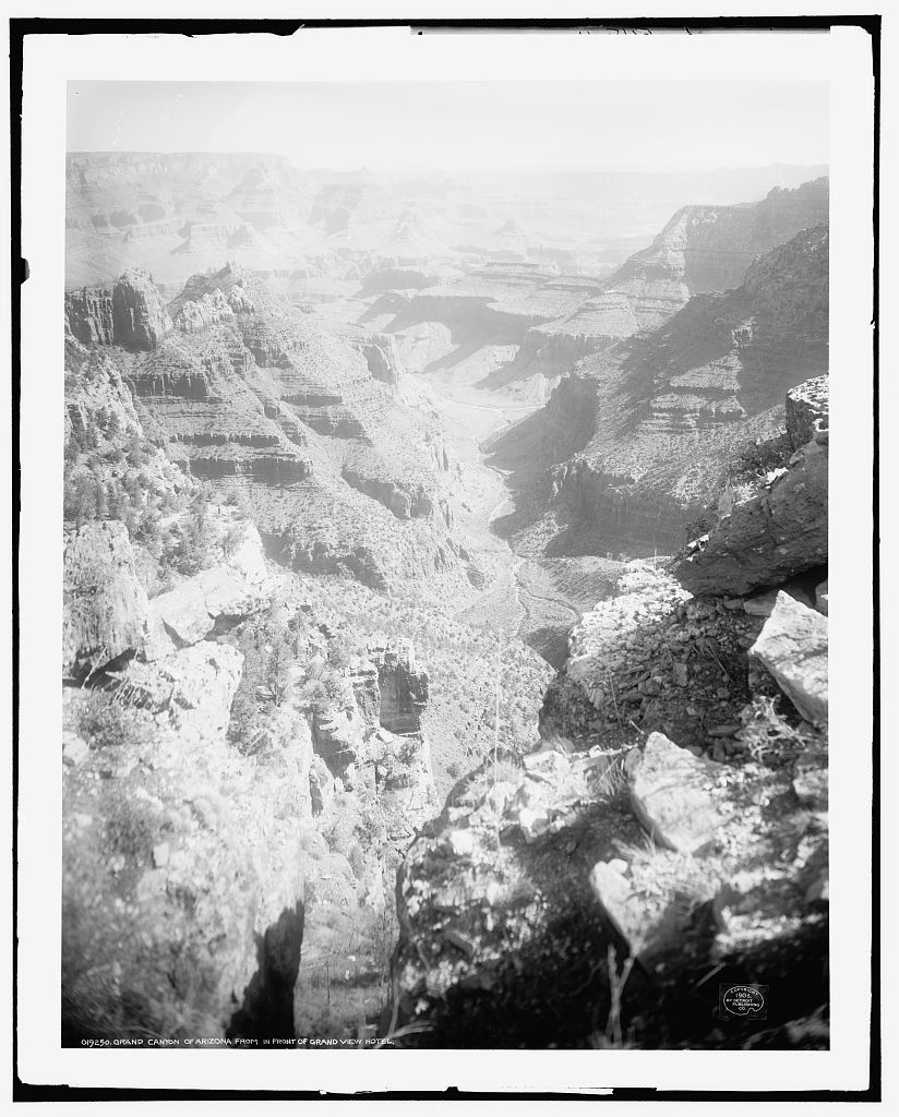 Grand Canyon of Arizona from in front of Grand View Hotel