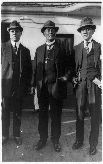 [Group portrait, standing, left to right: Jose C. Delgado, Victoriano Huerta, Abraham F. Ratner]