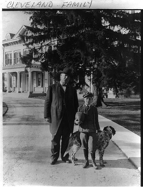 [Grover Cleveland, his son and dog posed on driveway, with house in backgrd. Princeton, N.J.]